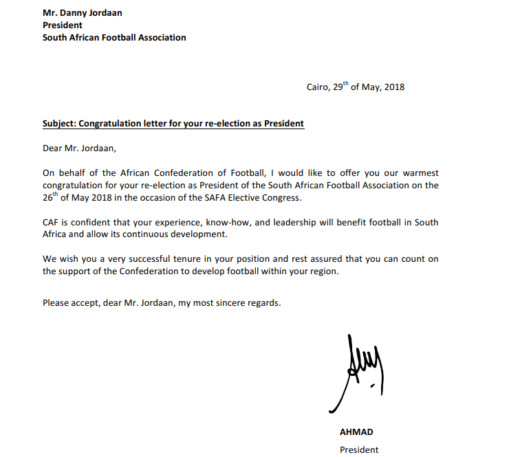 SAFA published a letter from CAF President Ahmad which congratulated Danny Jordaan on his re-election ©SAFA