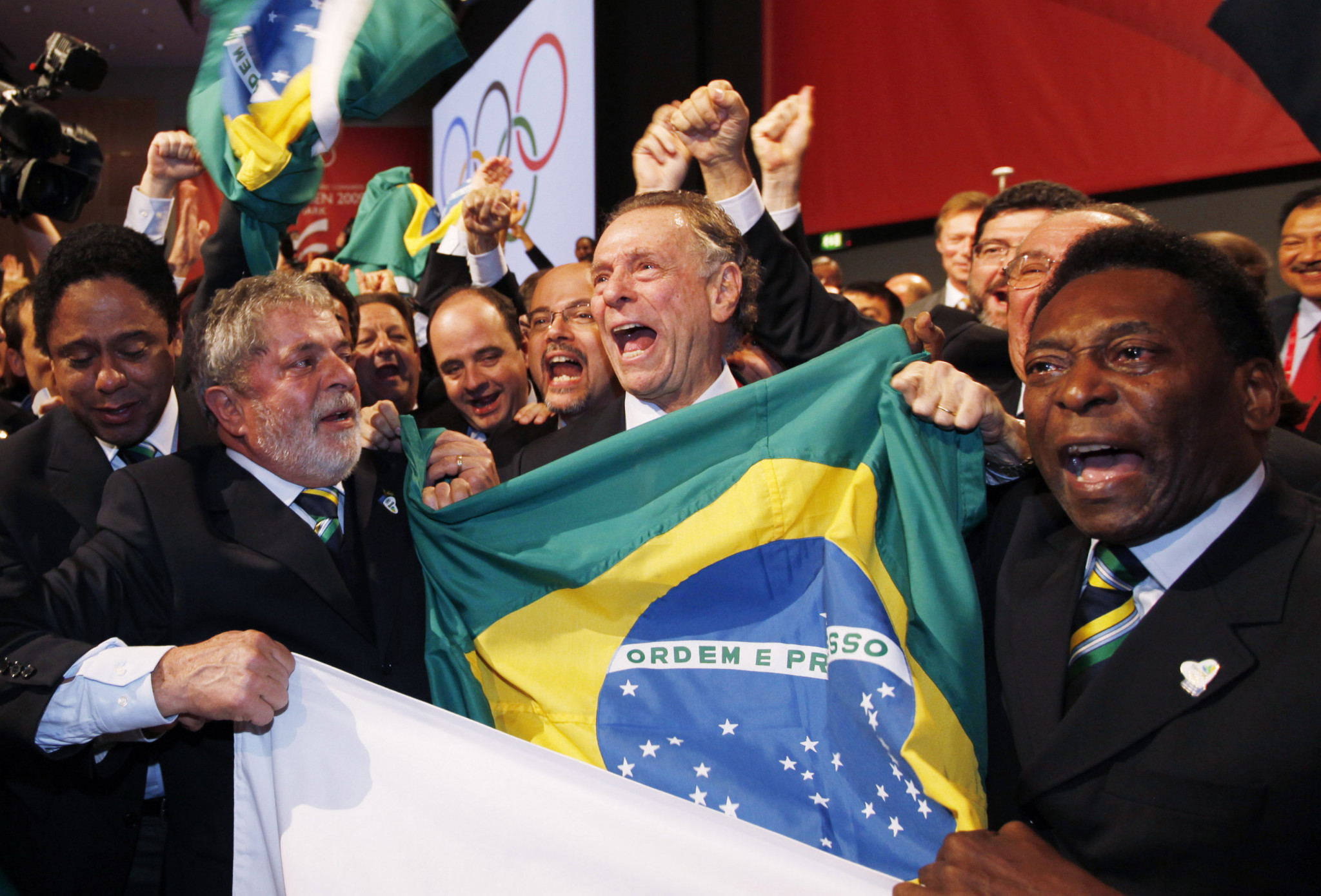 Pelé, right, pictured celebrating with figures including Carlos Nuzman and then-Brazilian President Luiz Inacio Lula da Silva when Rio was awarded the Olympics in Copenhagen in 2009 ©Getty Images
