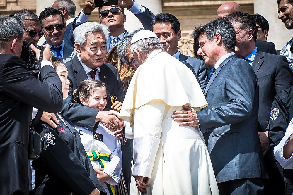 World Taekwondo demonstration team perform in front of the Pope