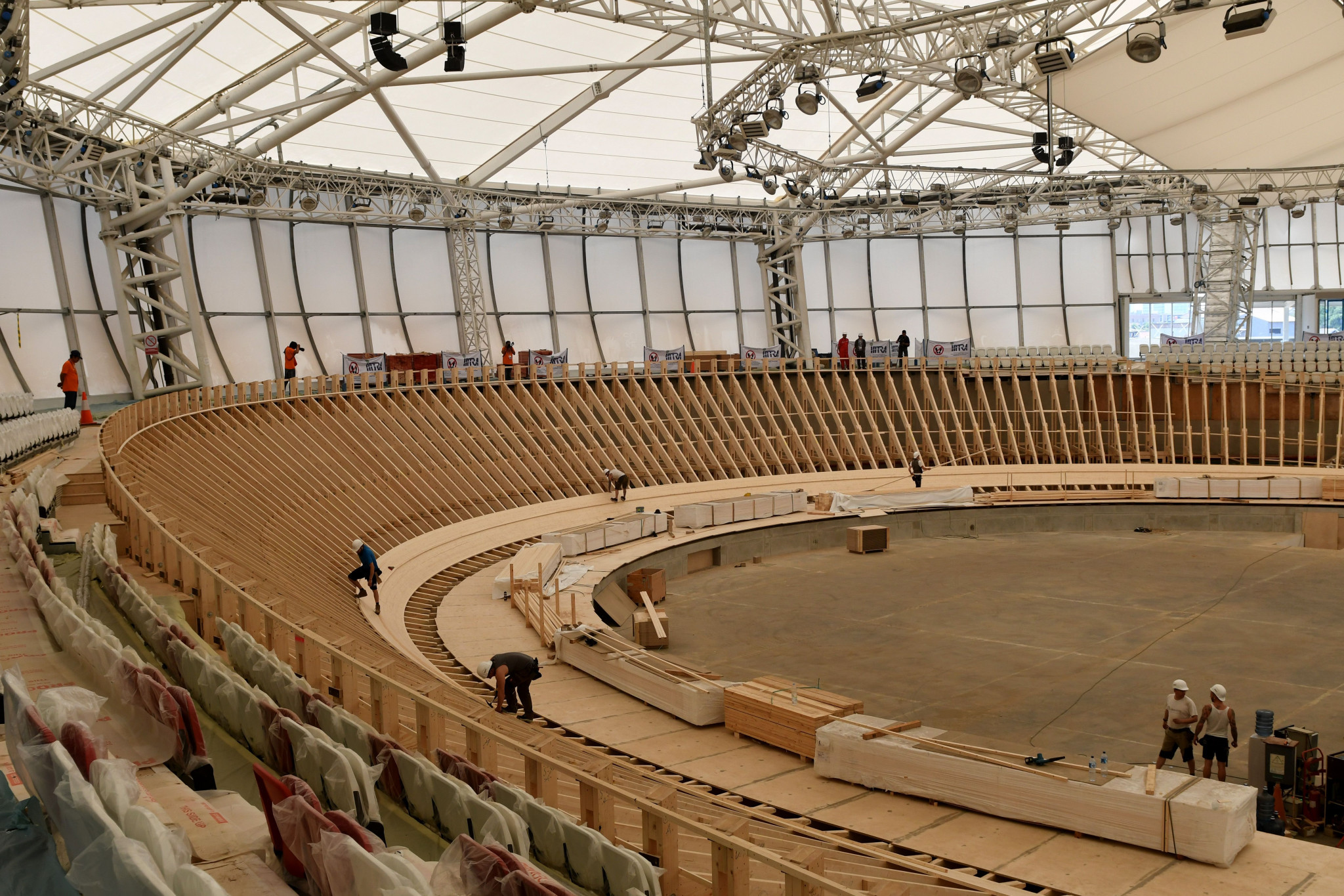 Workers build the track at the new velodrome in April ©Getty Images