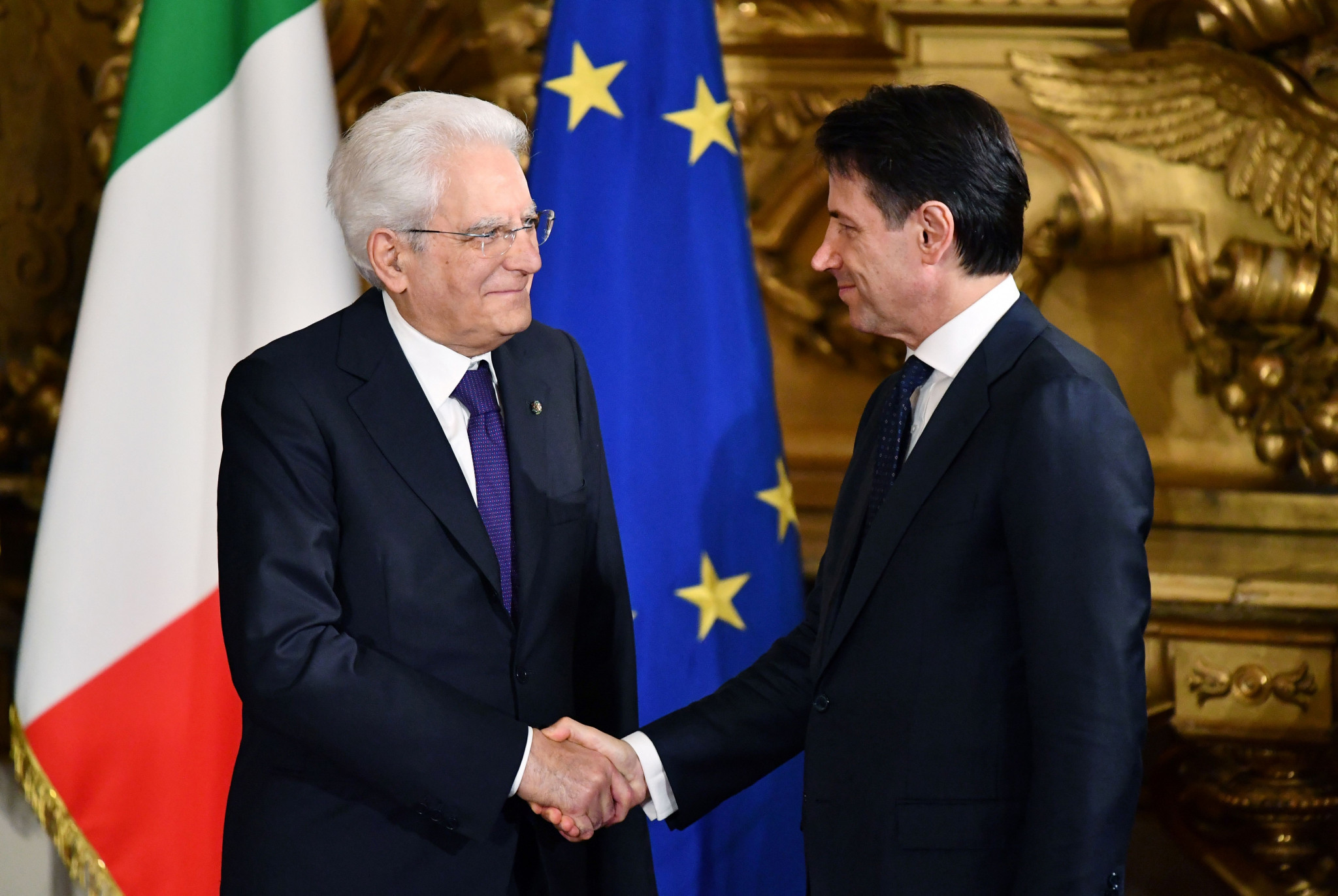 Giuseppe Conte, right, was sworn in as Italian prime minister yesterday ©Getty Images