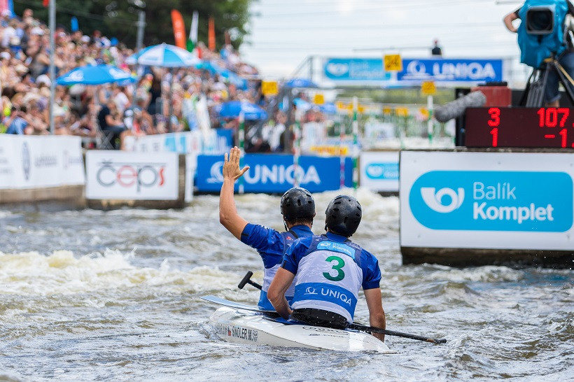 Czech duo mark last race in style with C2 triumph at home Canoe Slalom European Championships
