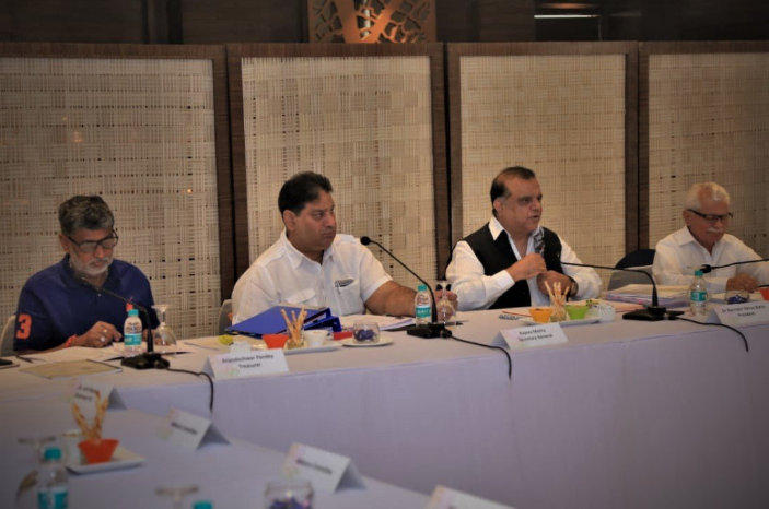 Indian Olympic Association officials announce their plans today ©IOA
