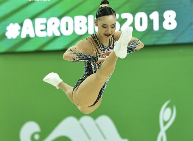 Japan's Riri Kitazume produced a superb display to clinch her first Aerobic Gymnastics World Championships gold medal ©FIG