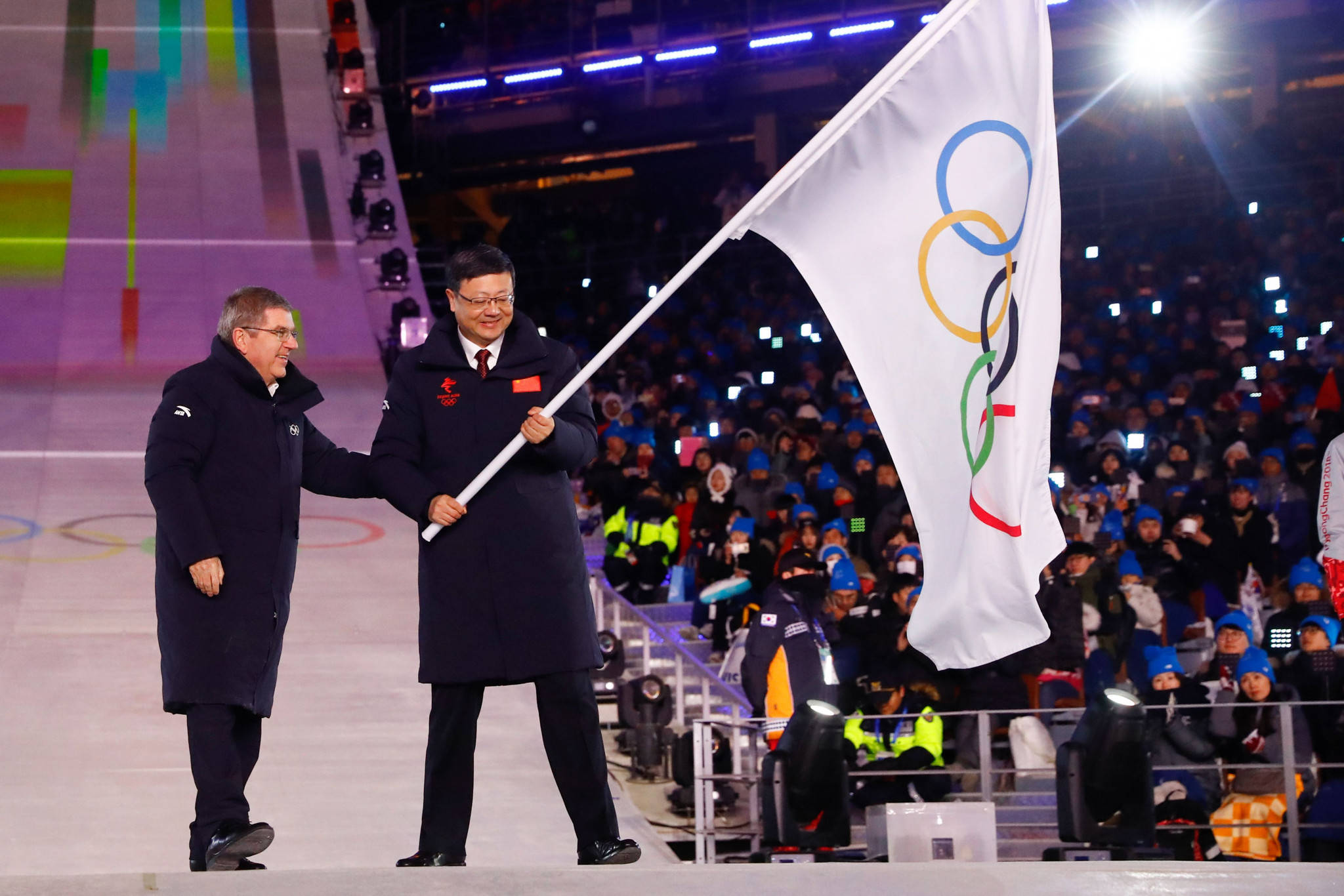 Beijing Mayor Chen Jining was handed the Olympic flag during the Closing Ceremony of the Pyeongchang 2018 Winter Olympic Games ©Getty Images