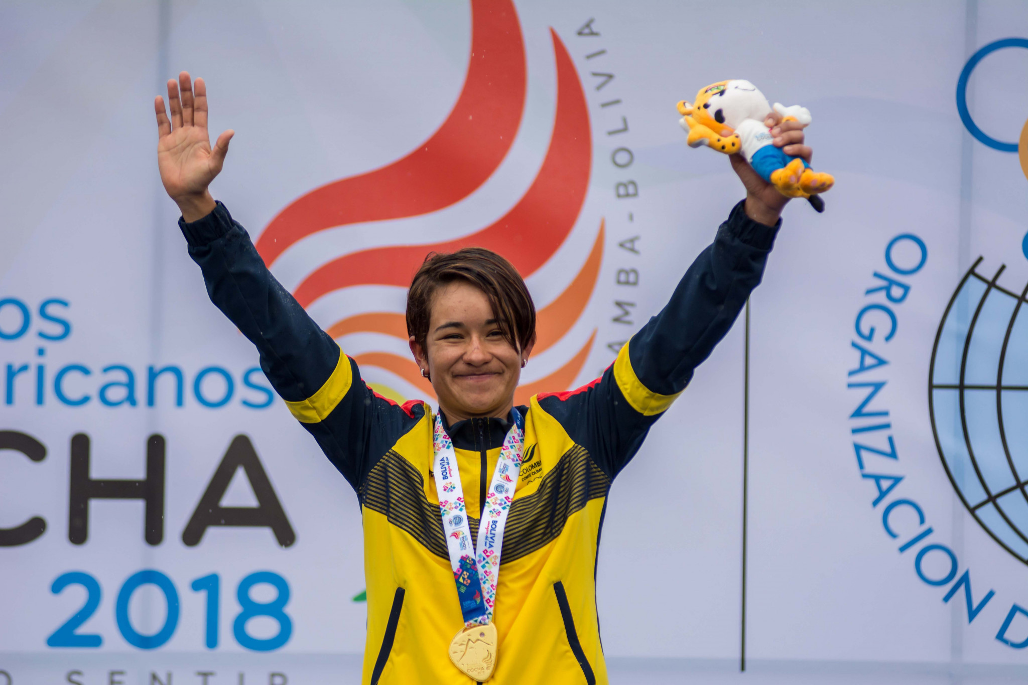 Ana Cristina Sanabria Sanchez led a Colombian clean sweep in the women's road cycling ©South American Games