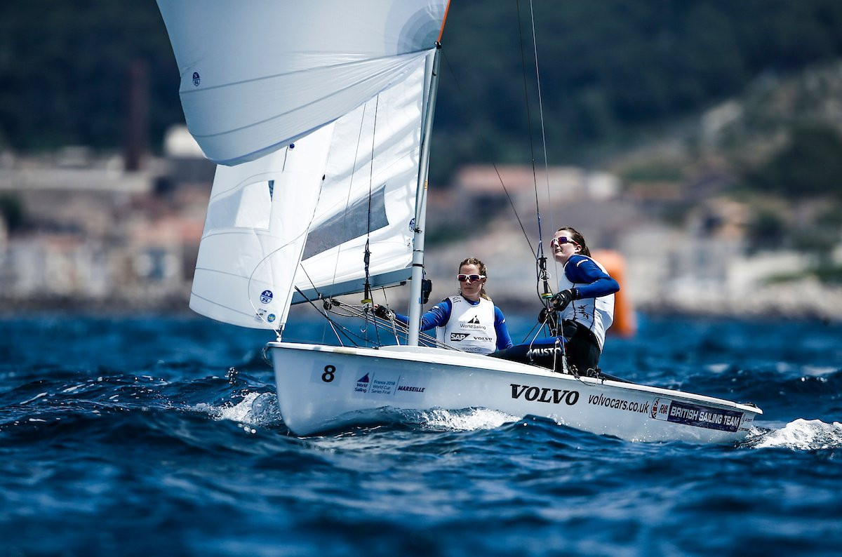 Mills and McIntyre take early women's 470 lead at Sailing World Cup Final