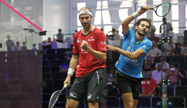 Germany's Simon Rösner secured an impressive win in Group B of the men's event as he ousted former world number one Karim Abdel Gawad ©PSA
