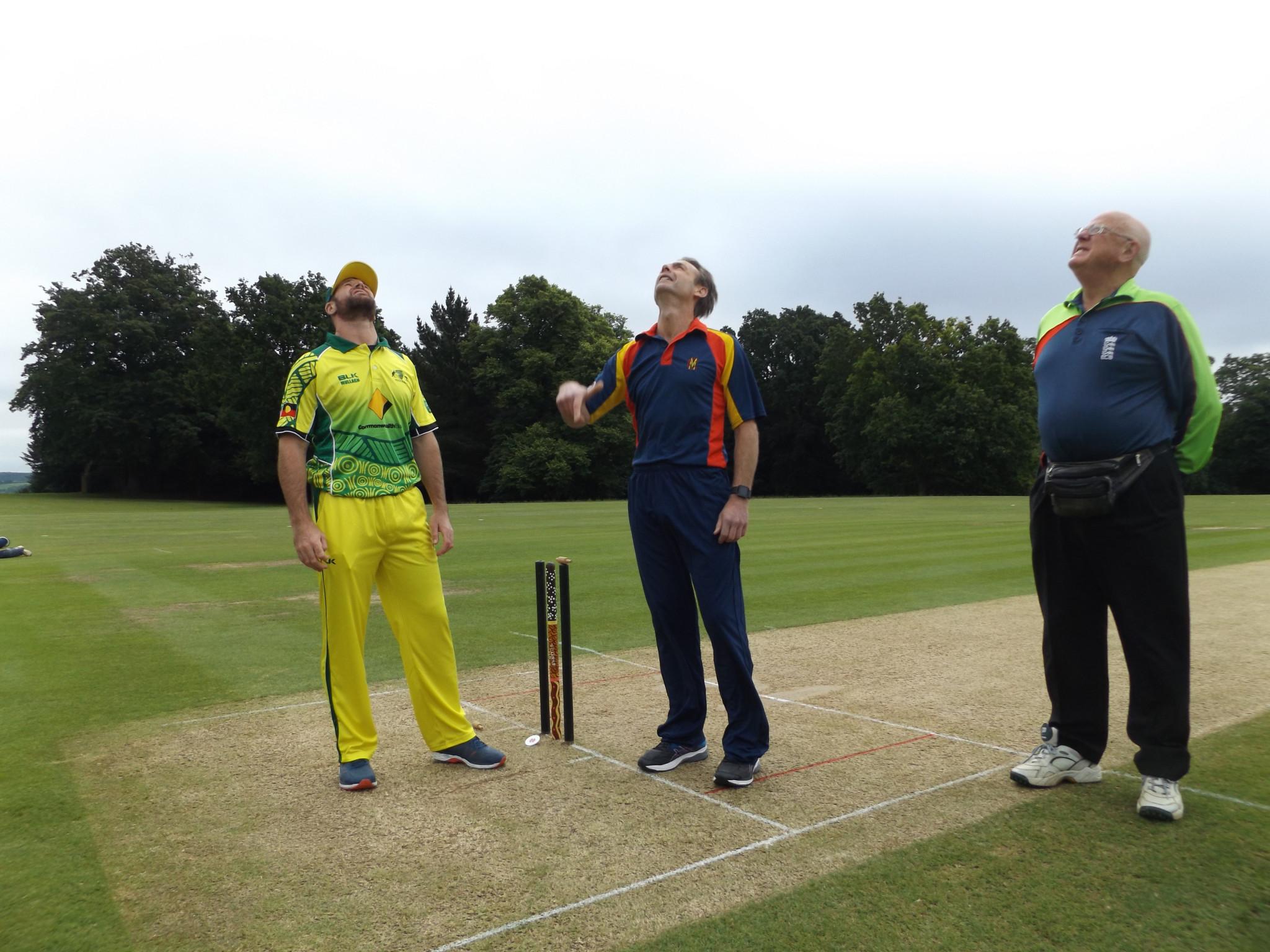 Dan Christian, left, at the toss as captain of the Australian team ©Phil Barker