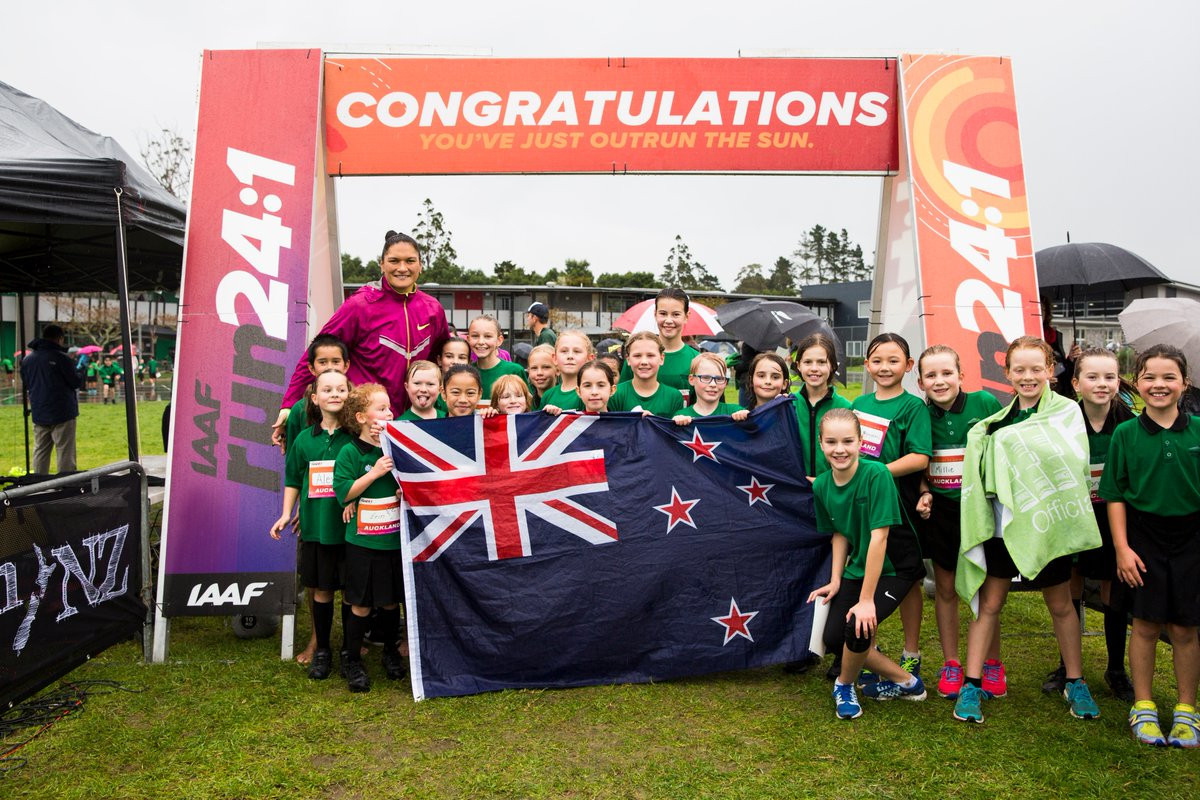 The event began in New Zealand with multiple shot put champion Valerie Adams ©IAAF