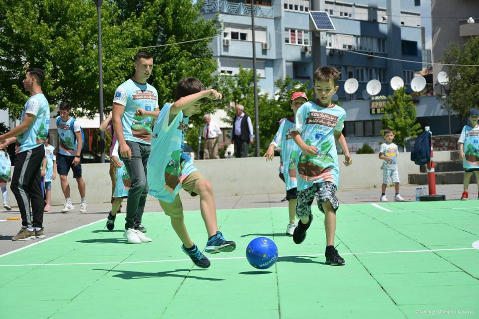 Children played football during the day in Pristina ©Kosovo Olympic Committee