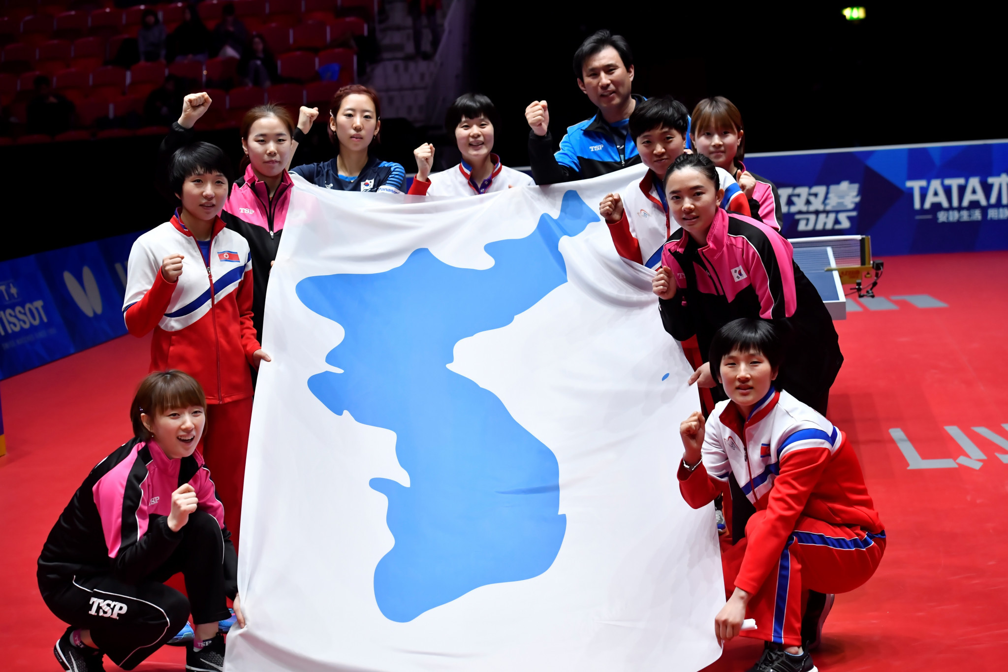 The joint Korean flag, seen here at the World Team Table Tennis Championships, will be used in Mongolia ©Getty Images