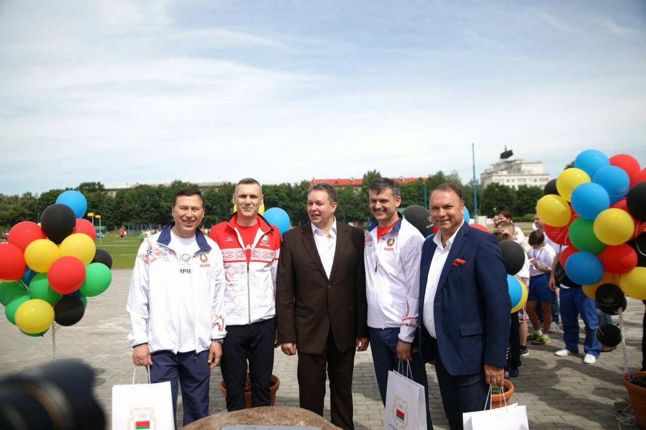 Officials attend the start of construction work at the beach soccer venue ©Minsk 2019