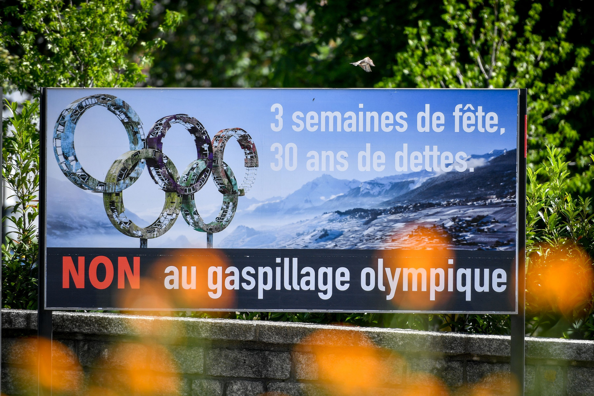 An advert by those opposed to the Sion 2026 bid ©Getty Images