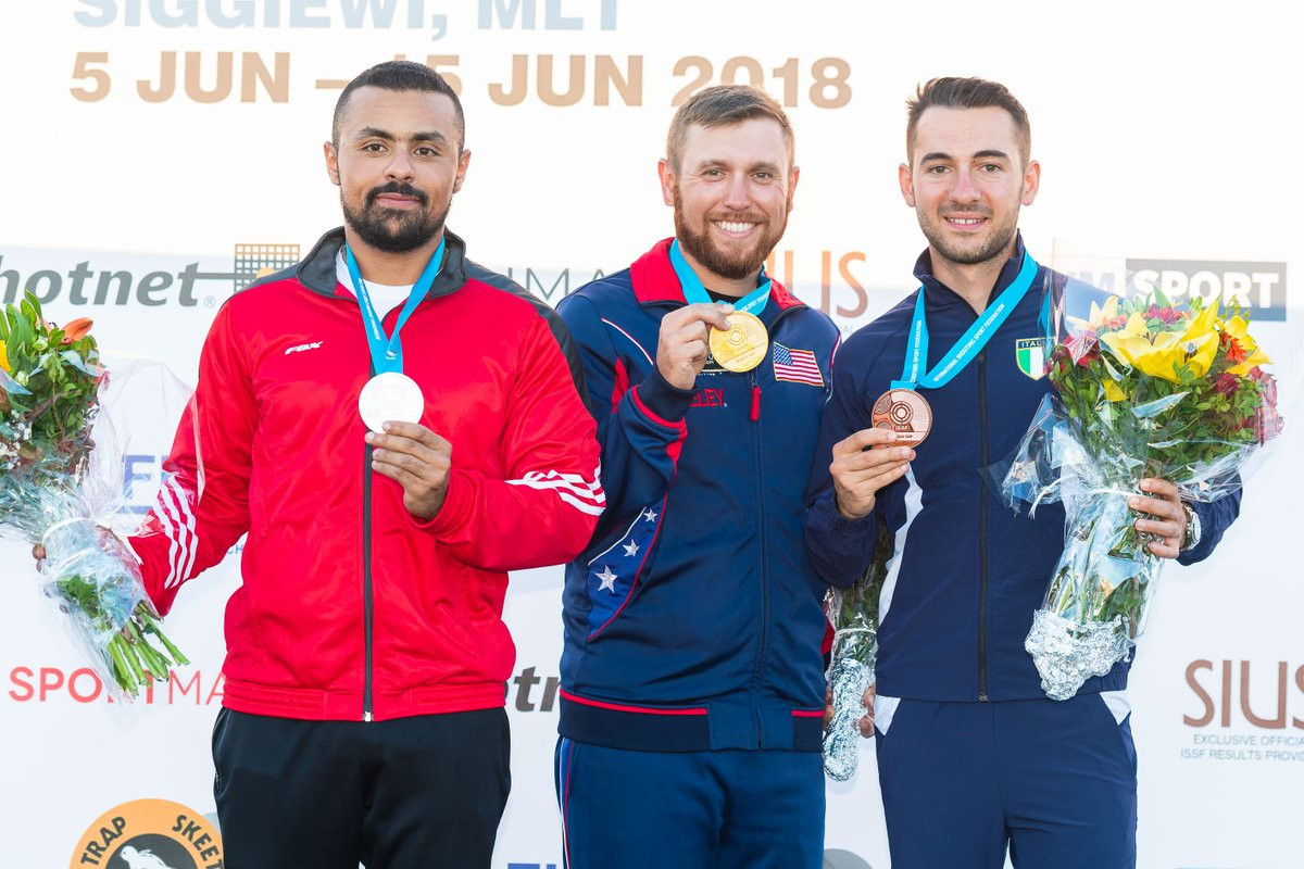 American Vincent Hancock secured his third consecutive Shotgun World Cup gold medal ©ISSF