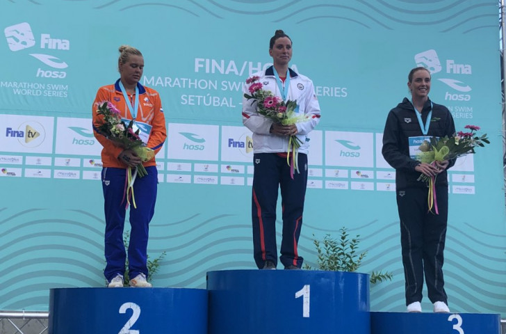 Haley Anderson of the United States won today's FINA Marathon World Series race in Setabul, Portugal ©FINA