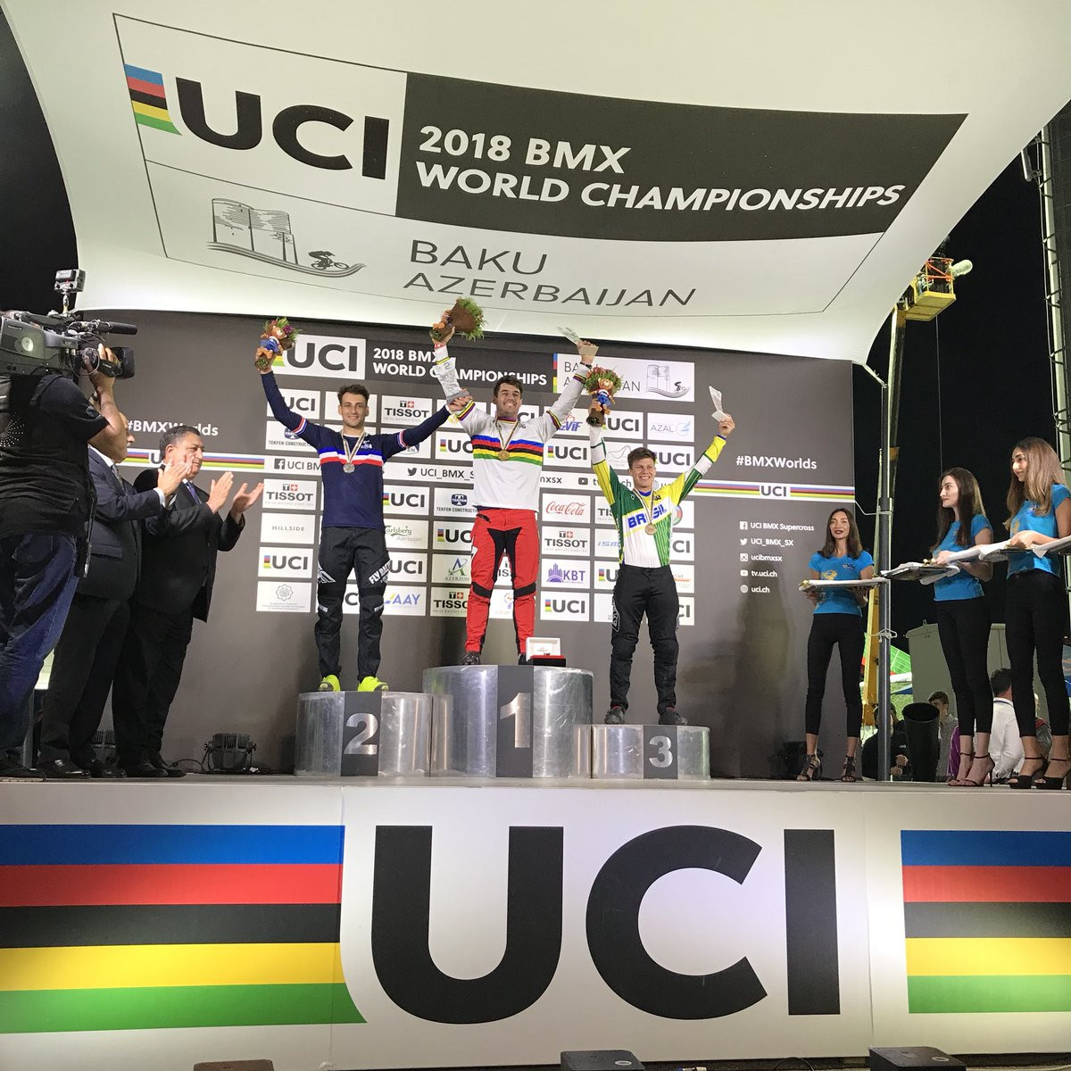 France's Andre swaps silver for gold at UCI BMX World Championships in Baku