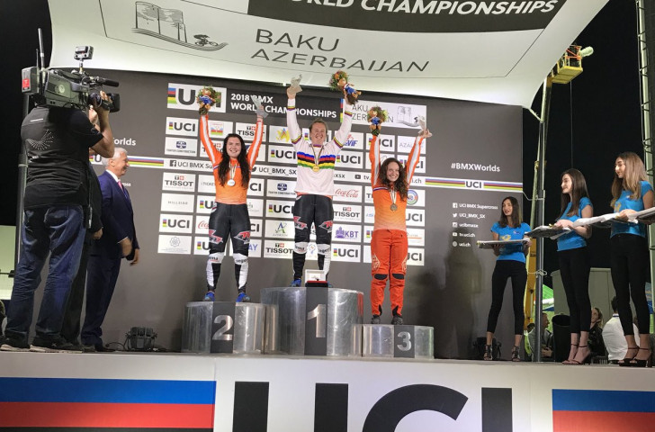 Laura Smulders took gold, and sister Merel silver in the women's final at the UCI BMX World Championships ©UCI