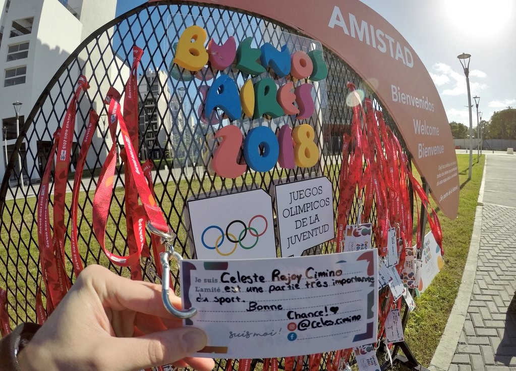 Schoolchildren leave messages of support for athletes competing at Buenos Aires 2018 at Youth Olympic Games Village