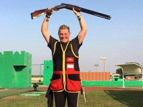Germany's Katrin Quooß finished top of the first round of the women's trap event as competition resumed in Malta ©German Shooting Federation