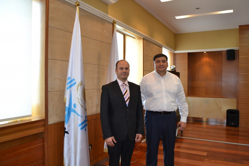Kazakhstan Weightlifting Federation President Zhanat Tusupbekov, right, claims his country have already been punished enough for its multiple doping failures ©IWF