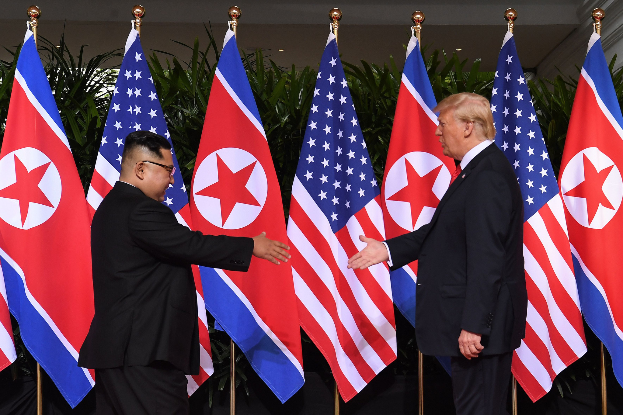 Donald Trump and Kim Jong-un's summit began with a historic handshake ©Getty Images