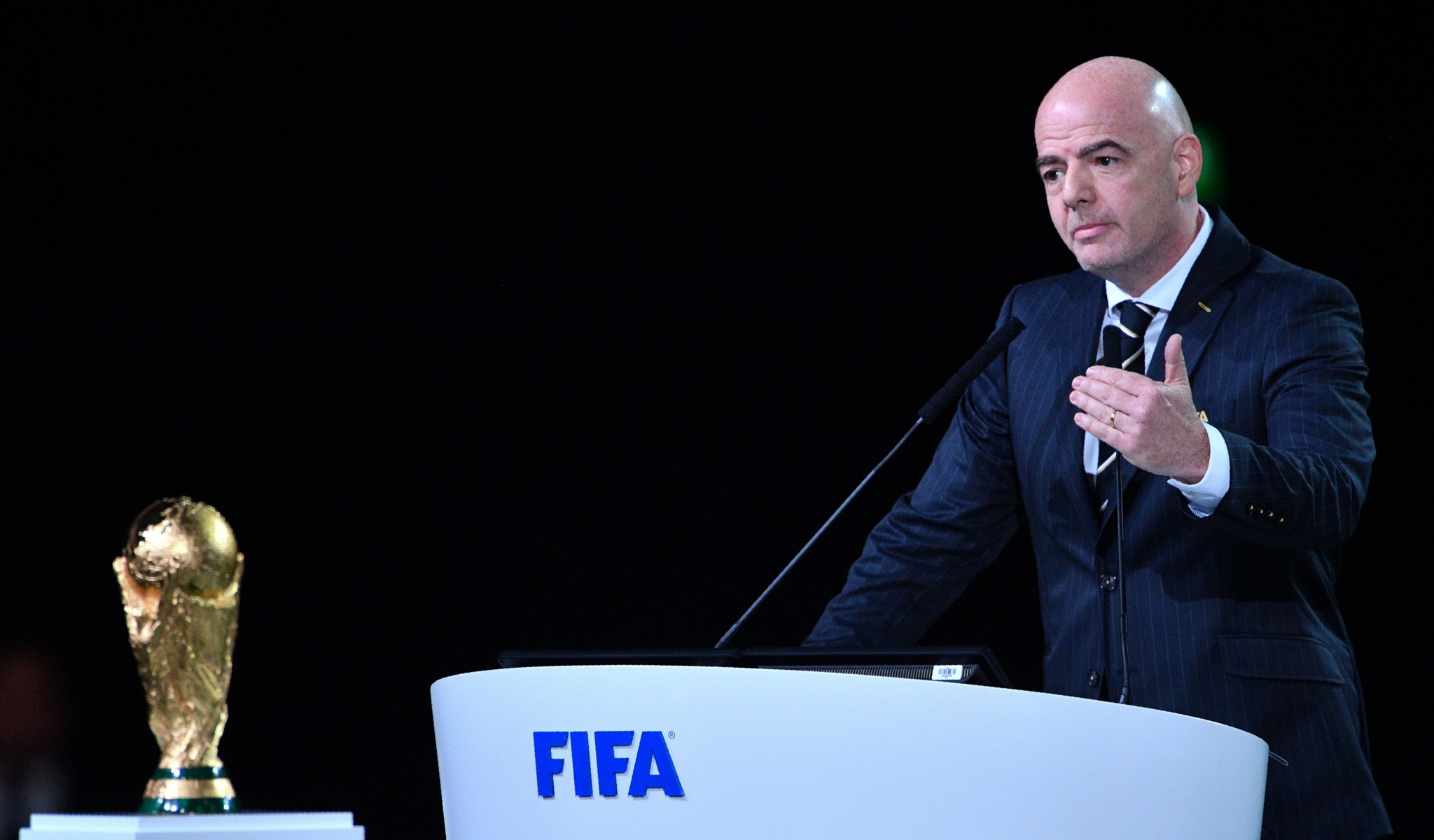 Gianni Infantino laid out his achievements in two years as FIFA President today ©Getty Images