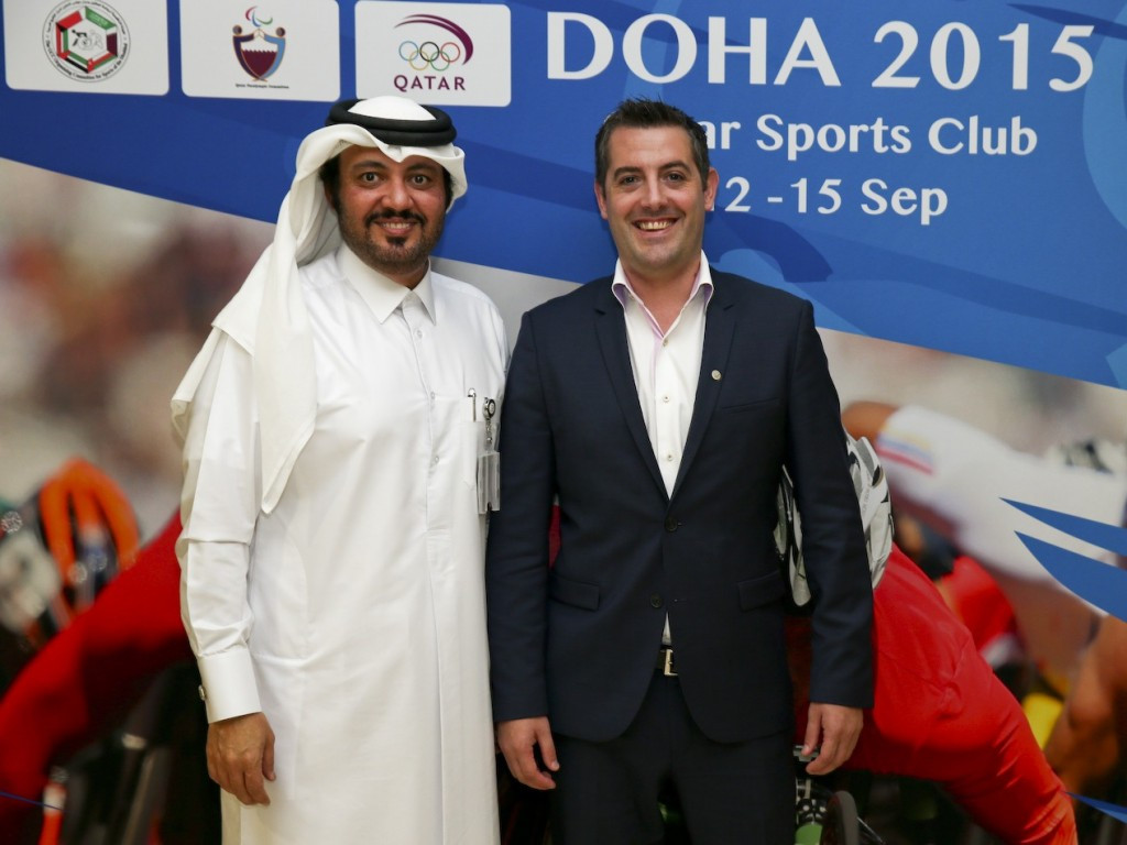 Doha 2015 chief executive Ameer al-Mulla (left) and IPC Athletics head Ryan Montgomery (right) believe the World Championships will prove to be a success ©Doha 2015