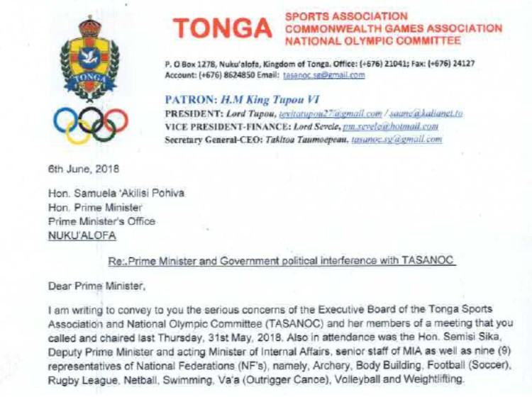 TASANOC have accused the Tongan Government and Prime Minister of interference in sport ©ITG