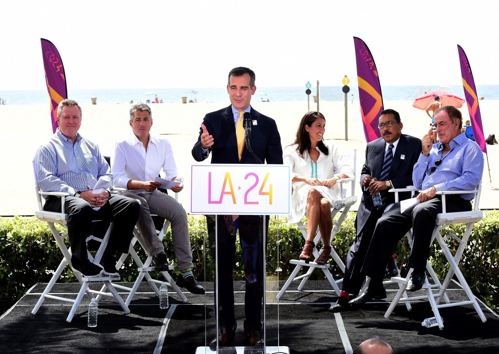 Los Angeles Mayor Eric Garcetti helped launch LA's 2024 campaign ©Getty Images