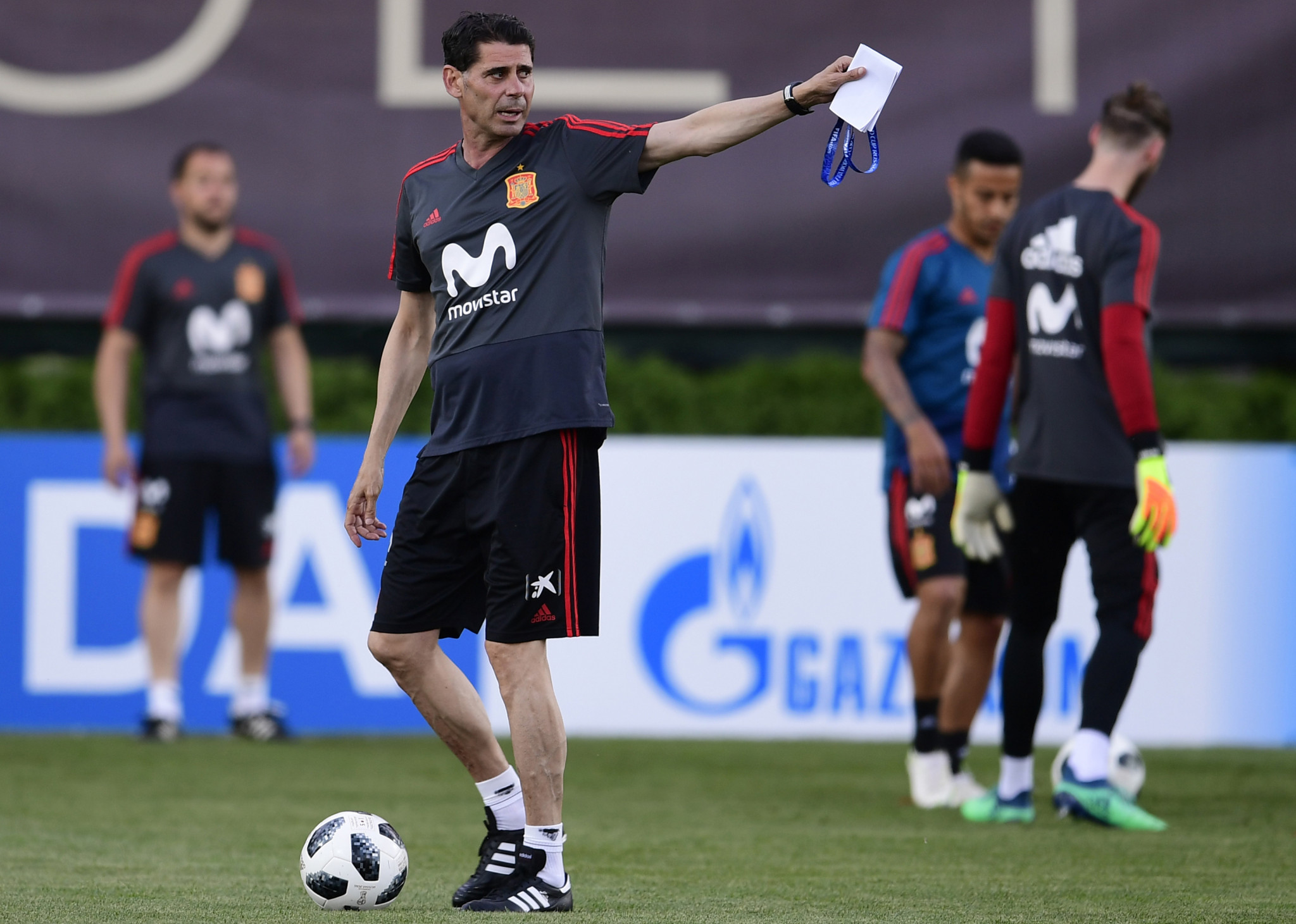 Stand-in coach Fernando Hierro directs training as Spain's players prepare for their opening World Cup match against Portugal in Sochi tomorrow ©Getty Images