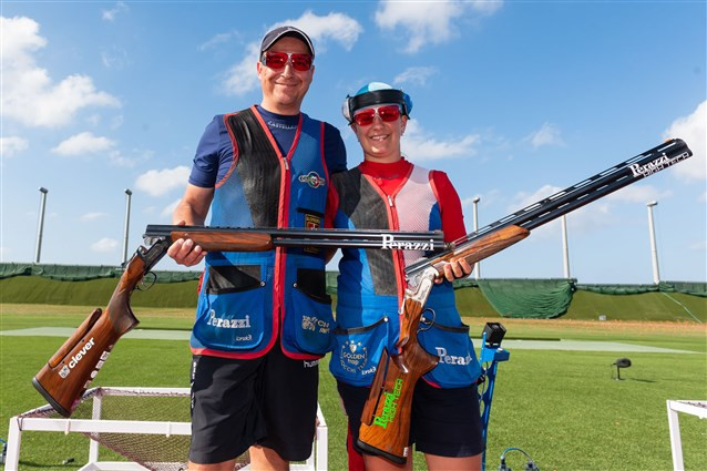 Slovakia's Zuzana Rehak Stefecekova and Erik Varga have secured their second consecutive mixed team trap gold medal in the ISSF World Cup series ©ISSF