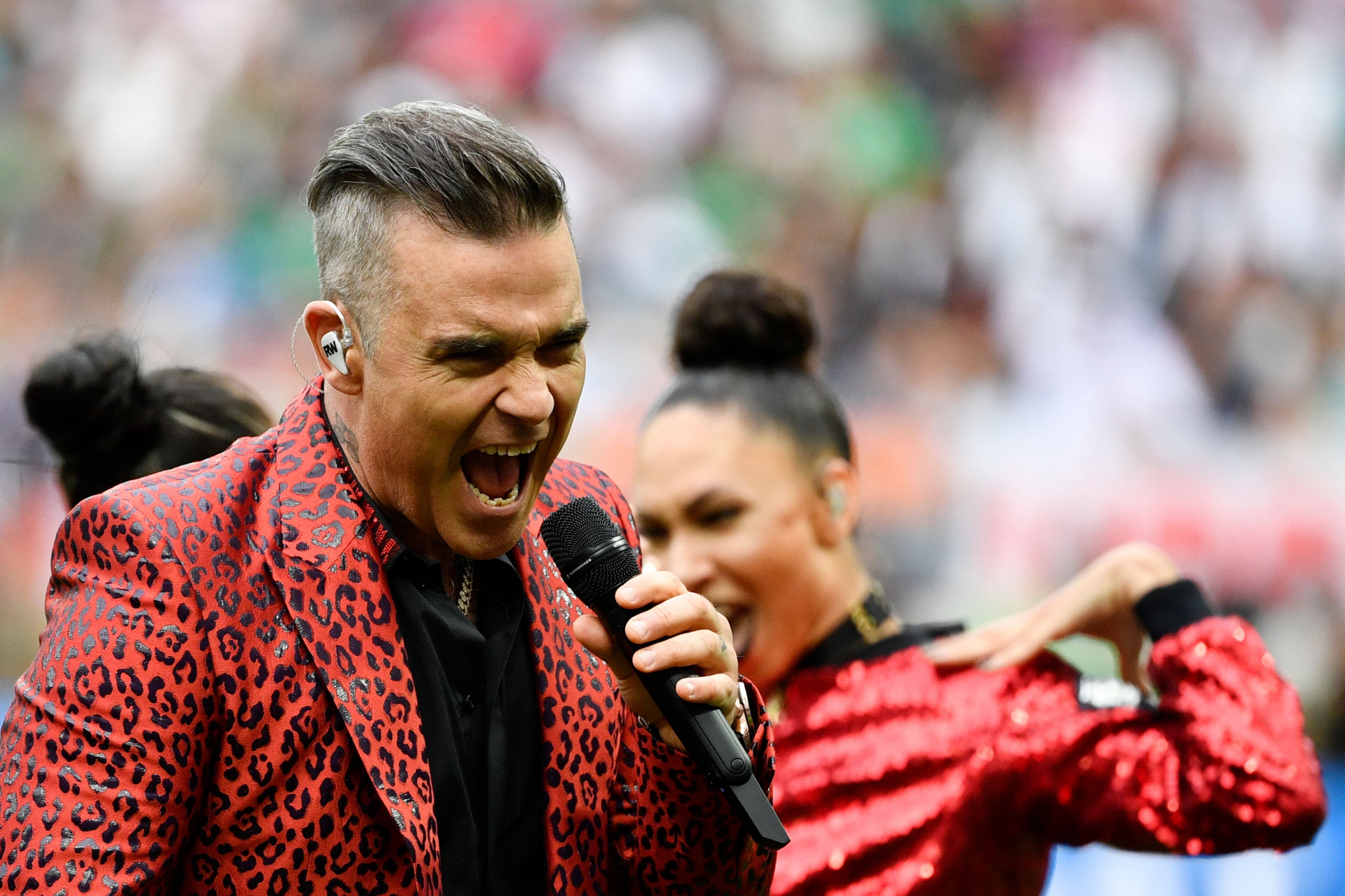 Robbie Williams performed during the Opening Ceremony ©Getty Images