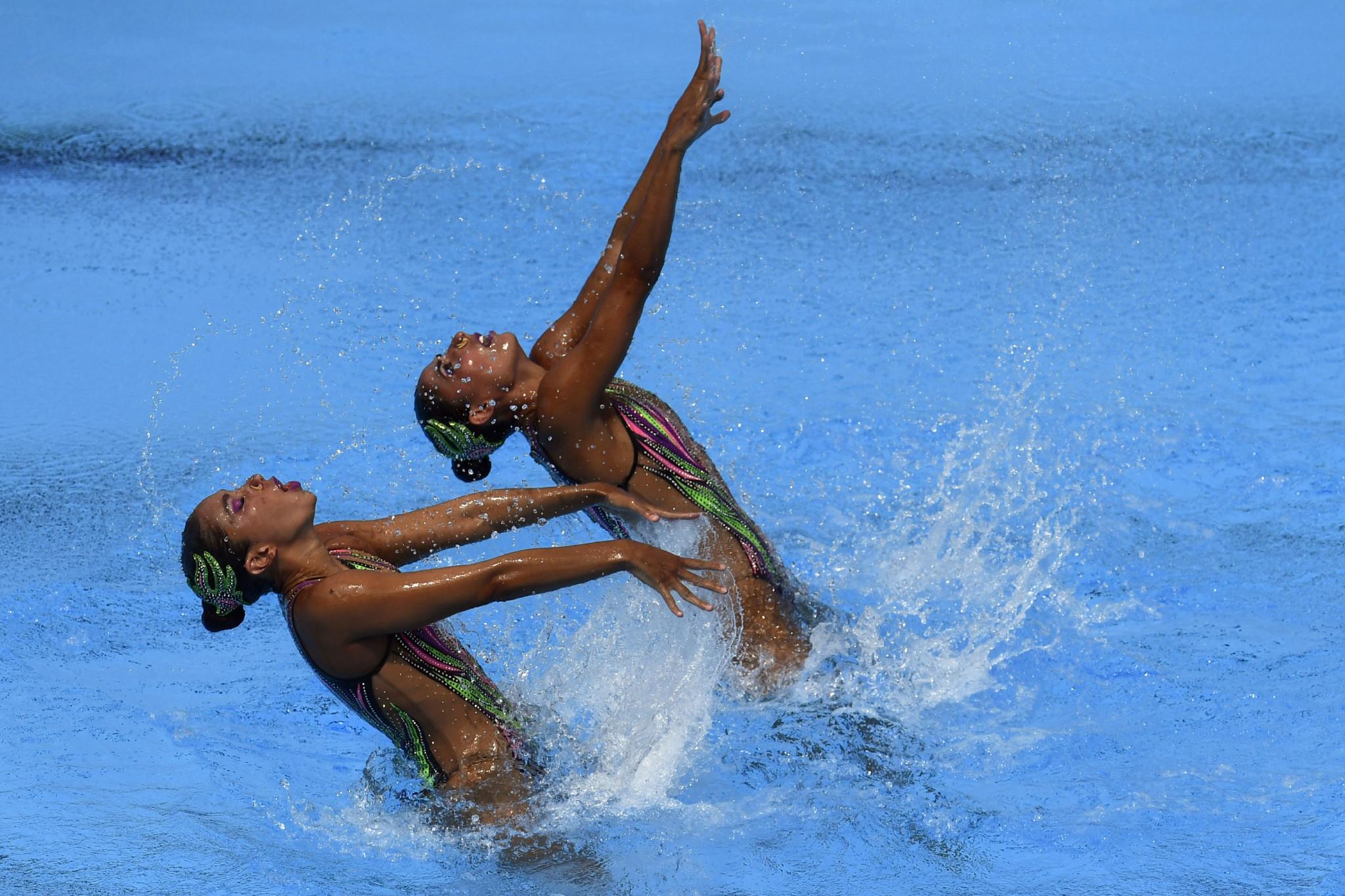 Mexico's Karem Achach and Nuria Diosdado Garcia won the technical duet event ©Getty Images