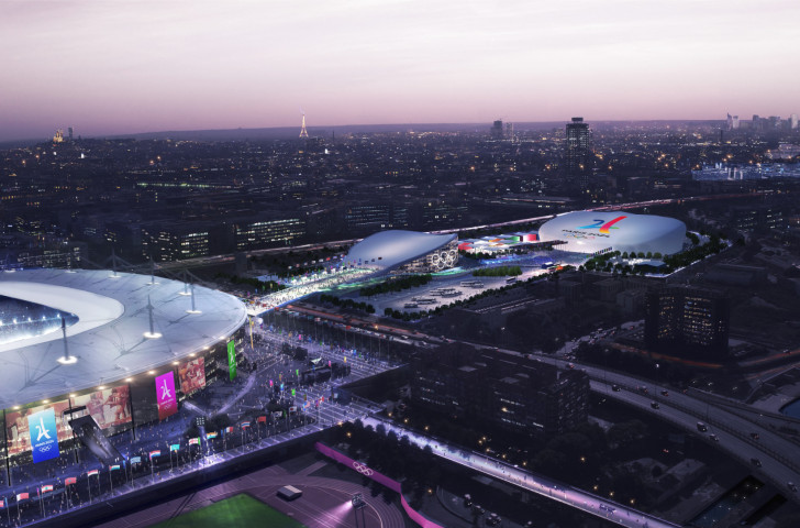 How the proposed aquatics venues will look at the Paris 2024 Games - with the larger structure on the right being temporary ©Paris 2024