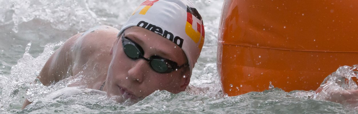Germany's Florian Wellbrock won the men's race at the FINA/HOSA Marathon Swim World Series in Balatonfüred ©FINA