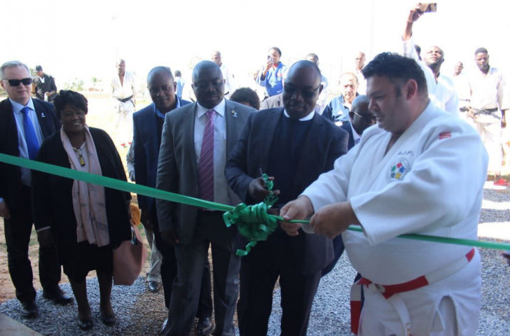 IJF sports director and former world champion Daniel Lascau opens the new dojo in the Zambian capital of Lusaka ©IJF