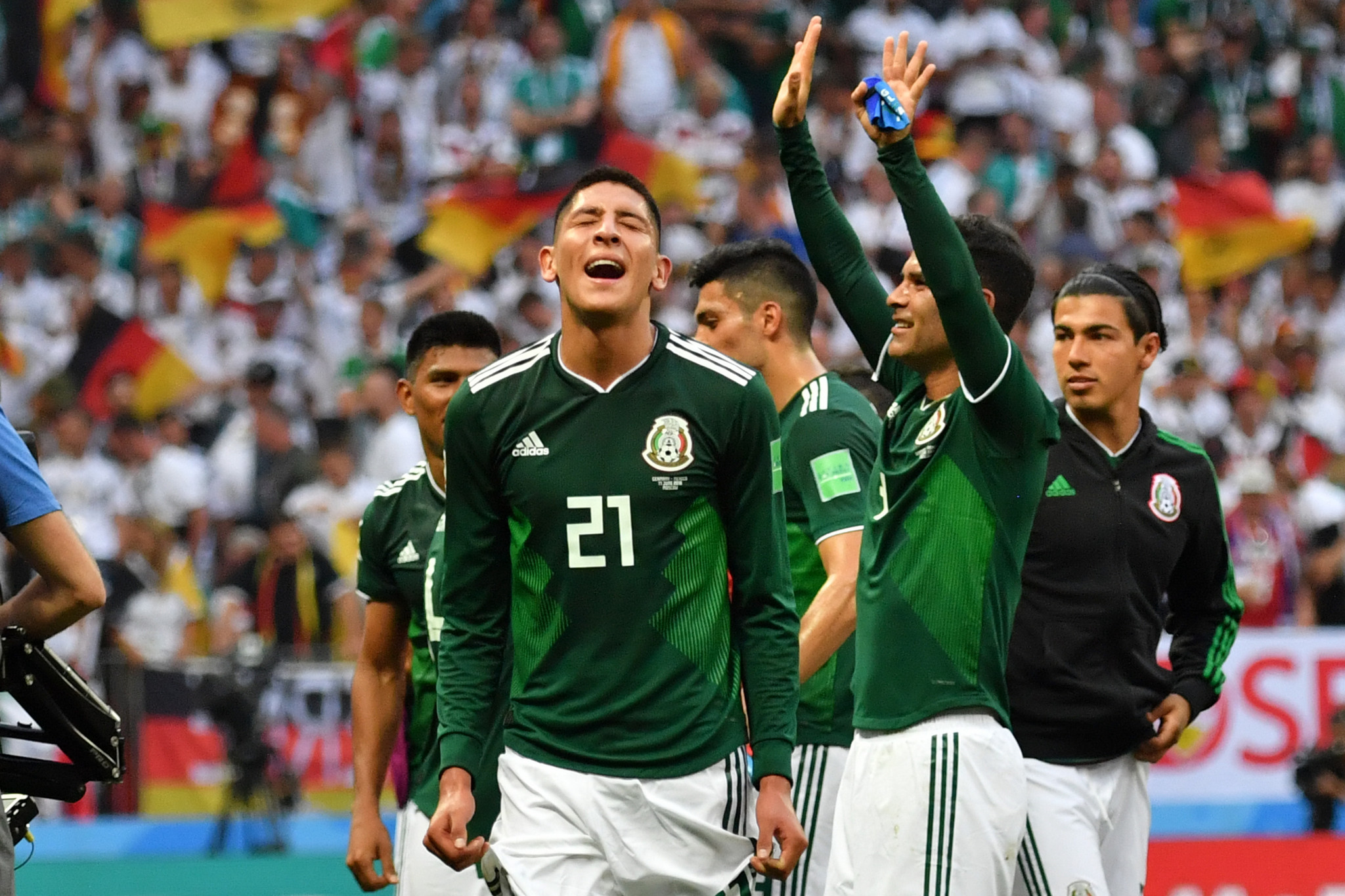 Mexico players celebrate their shock win over Germany ©Getty Images