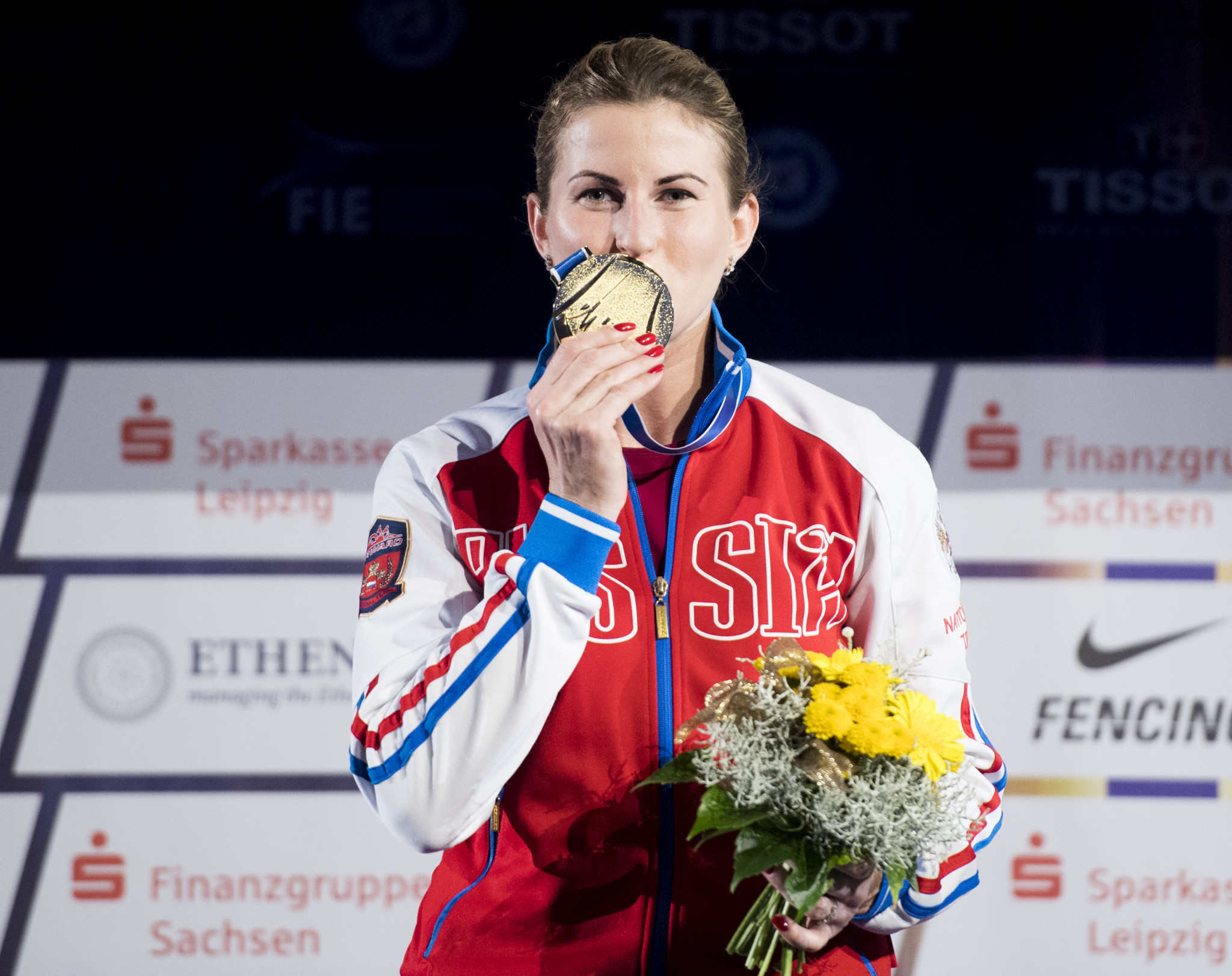 Russia's Rio Olympic champion Inna Deriglazova won the European women's foil title ©Getty Images