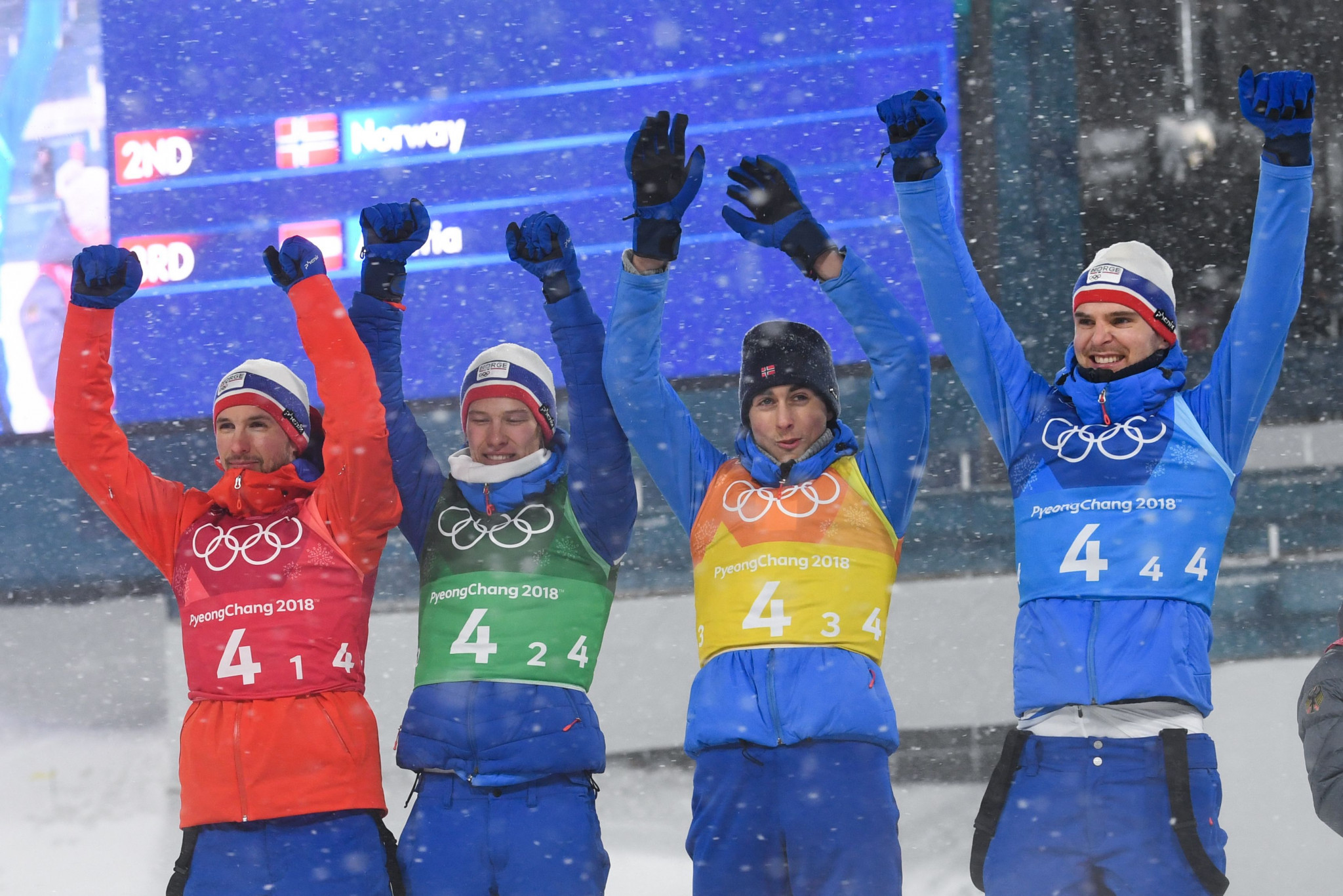 Norway medalled in Nordic combined at the Pyeongchang 2018 Winter Olympic Games, winning silver in the men's team relay 4x5km event ©Getty Images