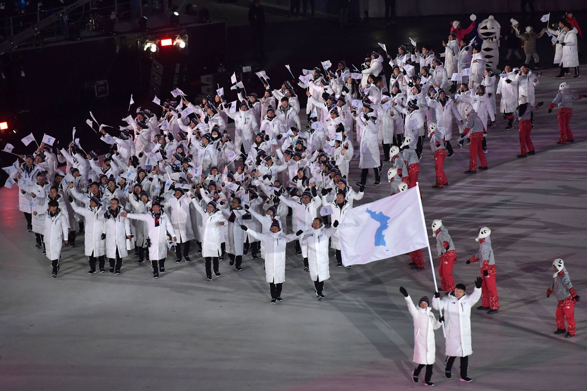 The two Korean teams marching into the Opening Ceremony together under a unified flag was perhaps the most memorable moment of the Games ©Getty Images