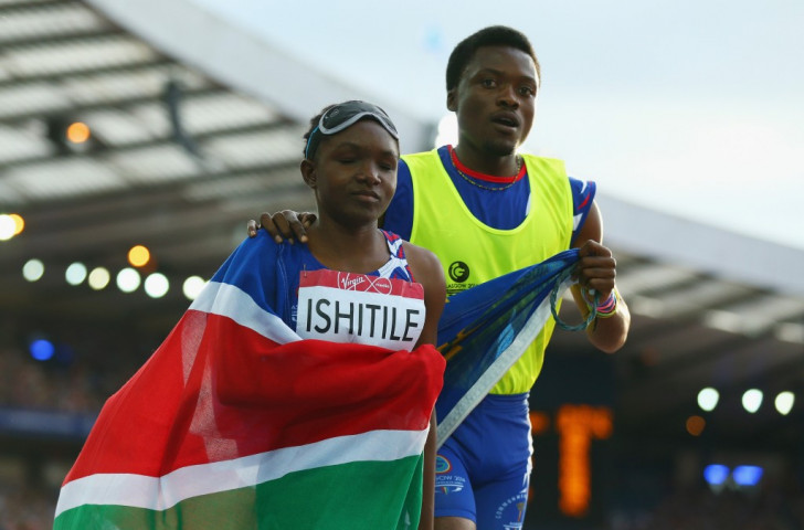 Namibia's Lahja Ishitile, pictured here at the Glasgow 2014 Commonwealth Games, took bronze in the women's 200m T11 final
