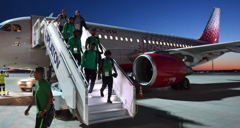 Saudi Arabian players landed safely despite a fire breaking out during their flight ©Twitter