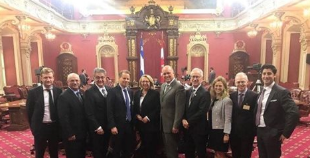 WADA officials pose with members of the National Assembly of Quebec ©WADA