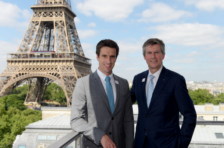 The first visit by the IOC Coordination Commission, chaired by Pierre-Olivier Beckers-Vieujant, pictured right with Paris 2024 President Tony Estanguet, meant Anne Descamps had a busy first week as director of communications ©Getty Images