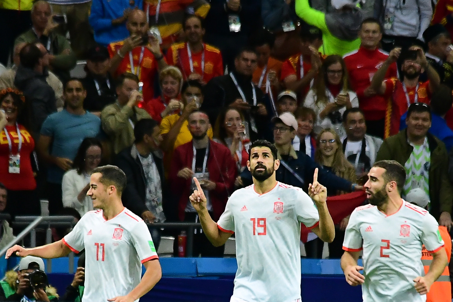 Diego Costa celebrates after scoring the winner for Spain against Iran ©Getty Images