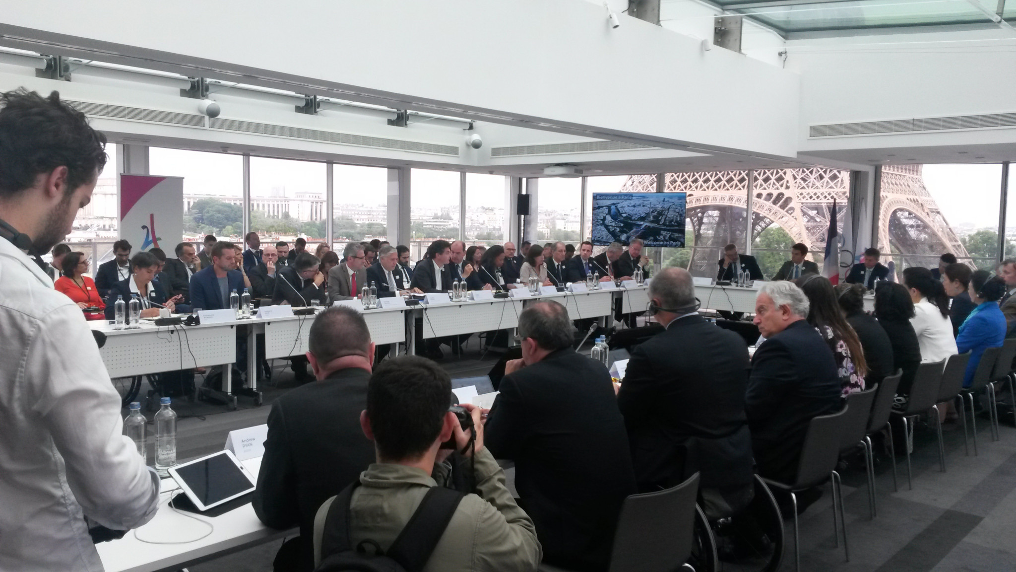 IOC Coordination Commission members and Paris 2024 representatives hold a morning meeting in the panoramic conference room at the top of the Hotel Pullman Paris Tour Eiffel ©ITG