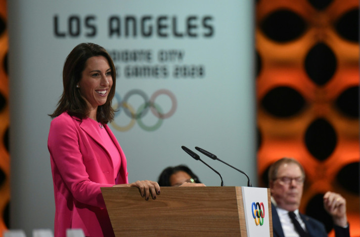 Former Olympic and world swimming champion Janet Evans, now a key member of the Los Angeles 2028 team, was present in Paris this week to work on a new Olympic ideal of partnership ©Getty Images