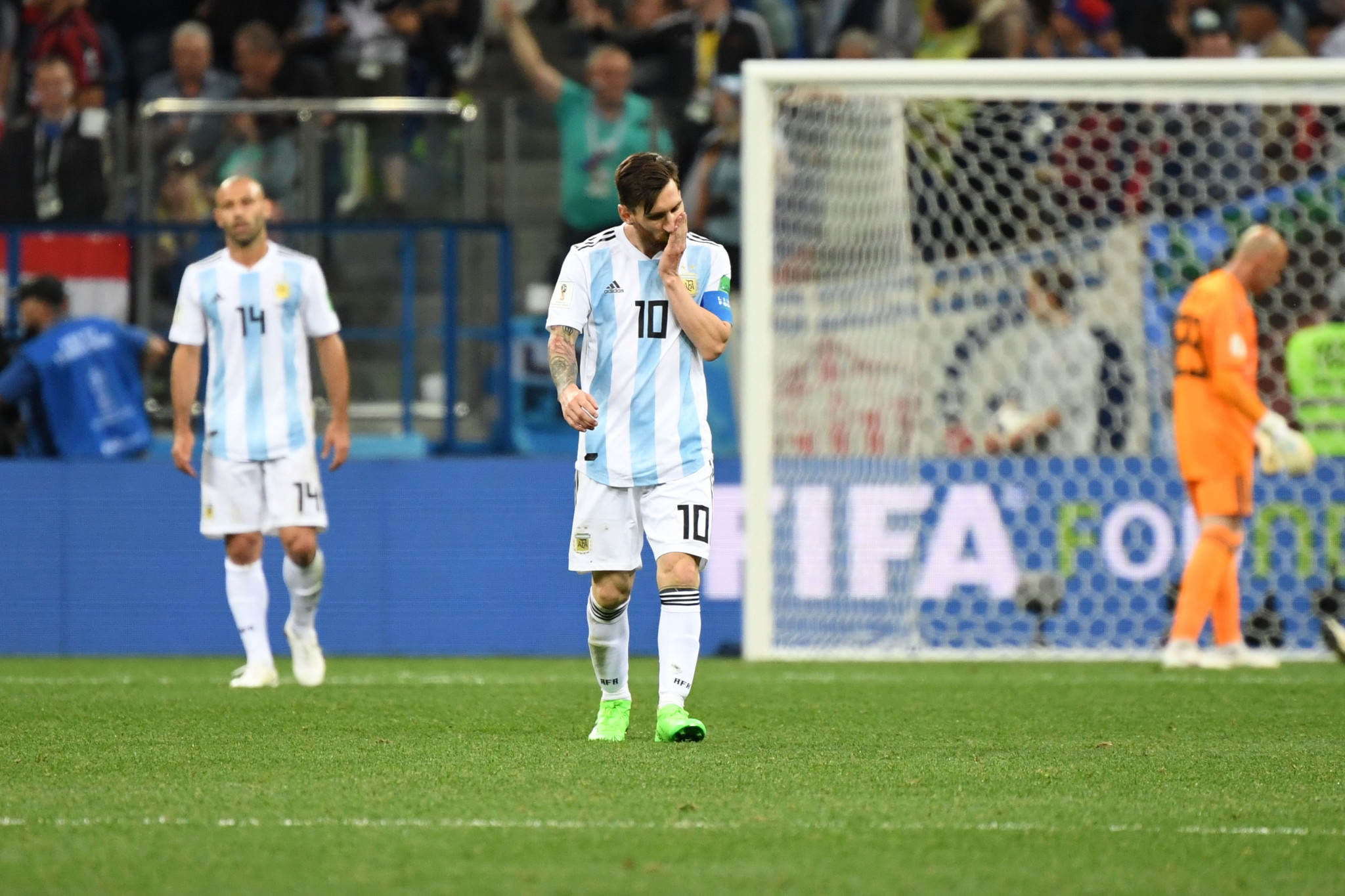 Star man Lionel Messi was helpless as Argentina lost 3-0 to Croatia today to leave them on the brink of elimination from the 2018 FIFA World Cup in Russia ©Getty Images