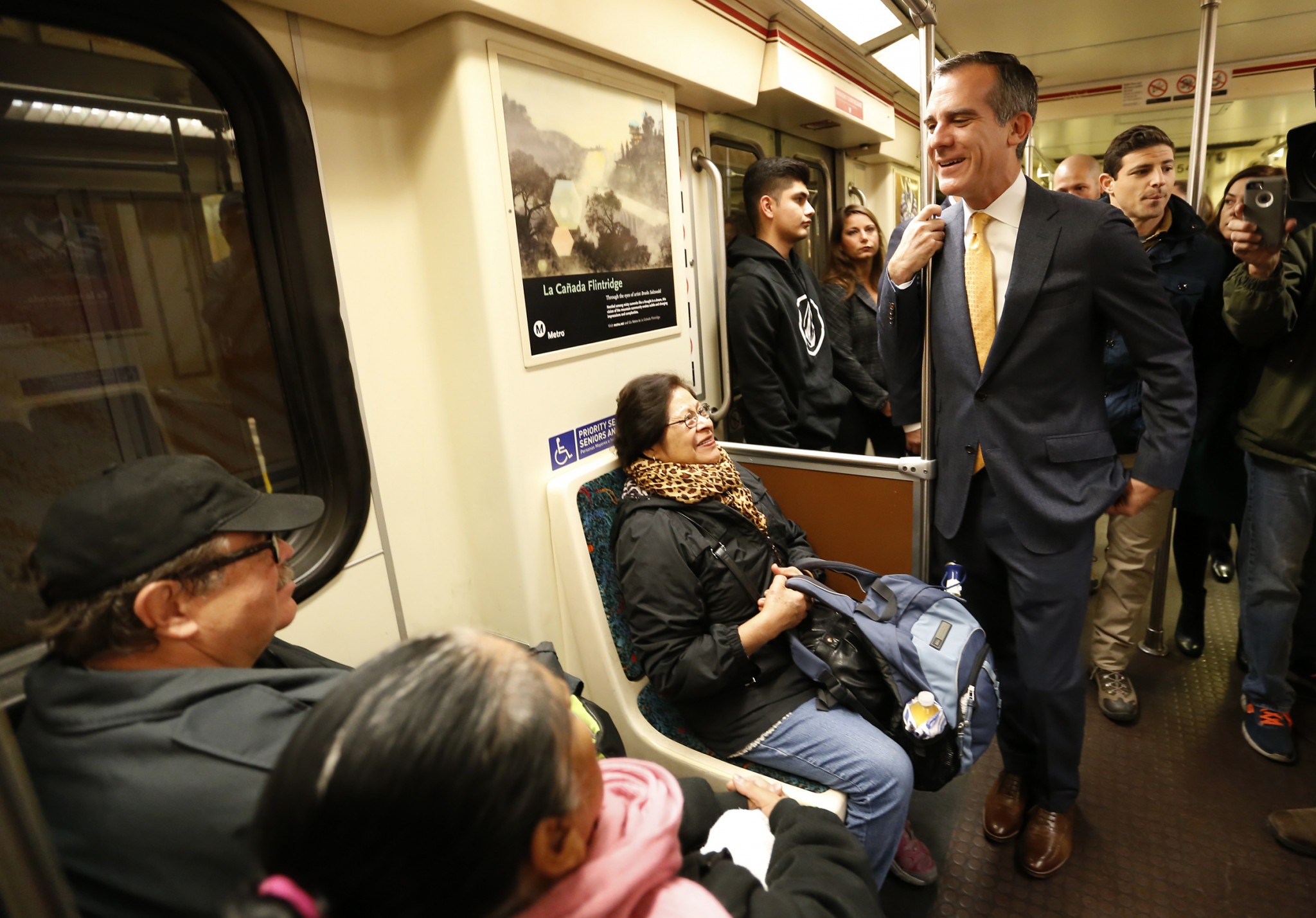 Los Angeles Mayor Eric Garcetti pictured on the metro in the city ©Getty Images